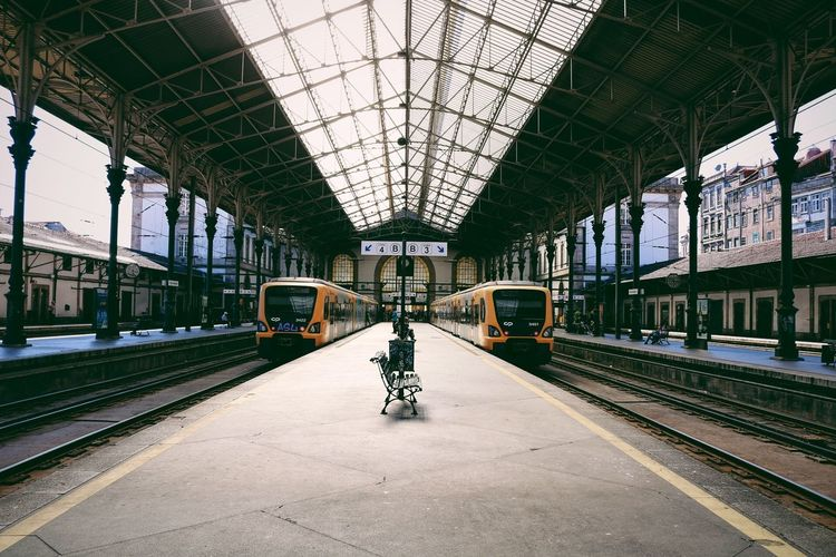 Architecture Built Structure Ceiling Day Indoors  Journey Men Mode Of Transport One Person People Public Transportation Rail Transportation Railroad Station Railroad Station Platform Railroad Track Real People Train - Vehicle Transportation Travel