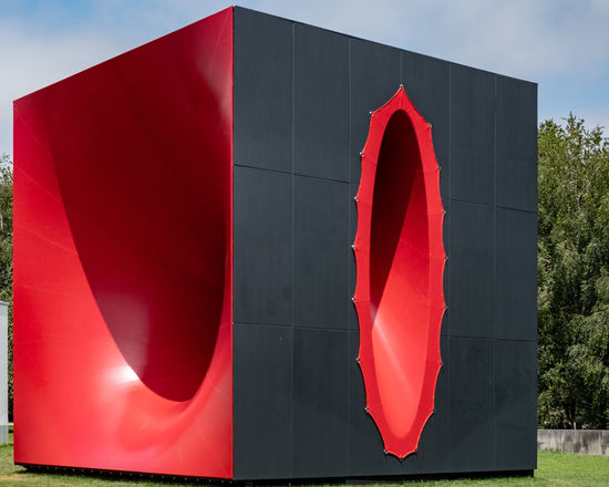 Sectional Body Preparing For Monadic Singularity Red Patriotism Day Textile Architecture Close-up Built Structure Outdoors Pride Sunlight Shape Design Low Angle View Sky Sculture Anish Kapoor Blackandwhite Contemporary Art Contemporary