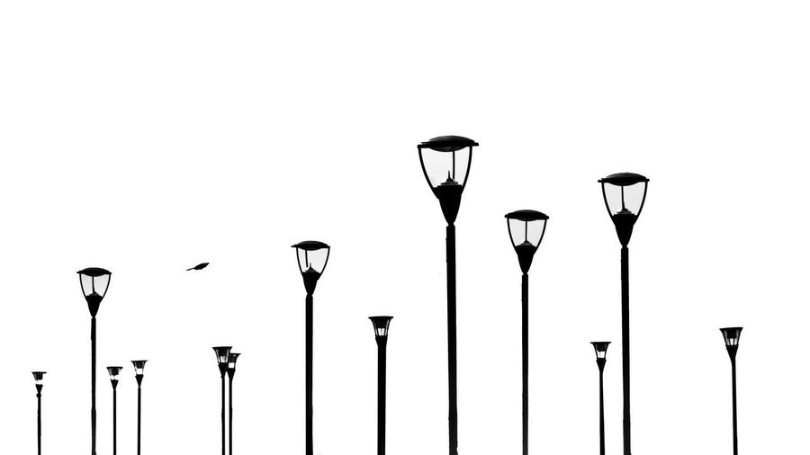 Close-up of street lights against white background