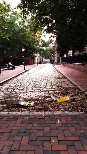 Historic place with some street lamps Lane Day Tree Pretty Street Light Brick Brick Road City Town No Cars  Old Timey People Sidewalks Dark Leaves Leaf Bench People Sitting Walkway Baeutiful Old Buildings Old Fashion American