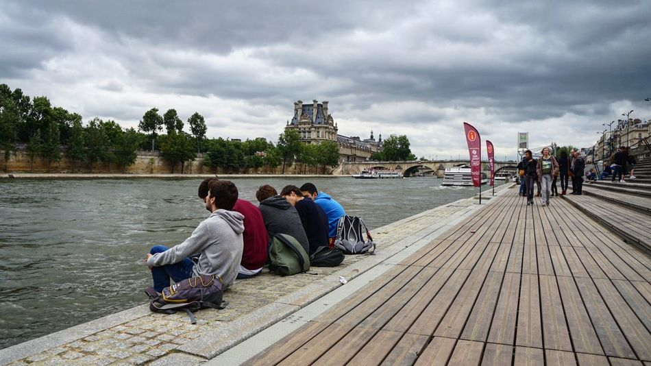 La Seine Outdoors Paris Paris Je T Aime Paris, France  People River Seine Seine River Sitting Sky Togetherness