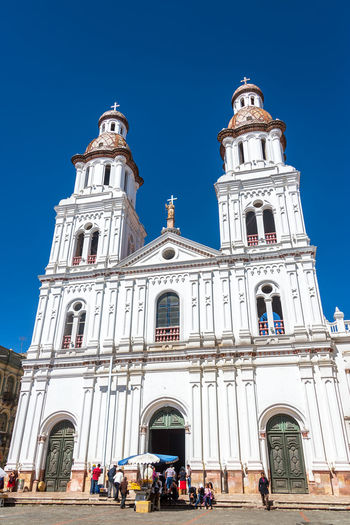 Low Angle View Of Santo Domingo Church Against Clear Blue Sky