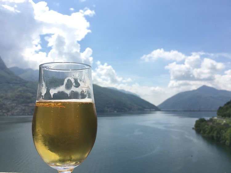 Drink Drinking Glass Food And Drink Mountain Lake Landscape_Collection Lugano, Switzerland Beer Analcolic Sky Nature The Great Outdoors - 2017 EyeEm Awards