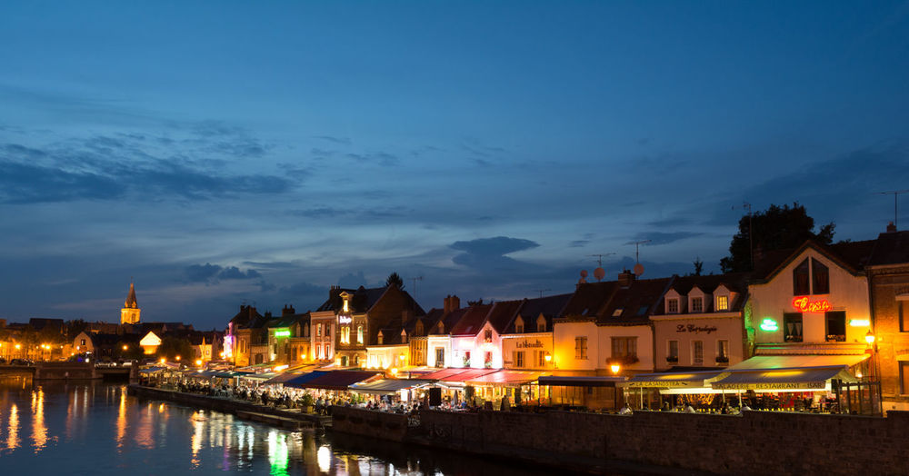 Amiens Amienscity Architecture Blue Building Exterior City Illuminated Night Reflection Saintleu Saintleuamiens Sky Stleu Water