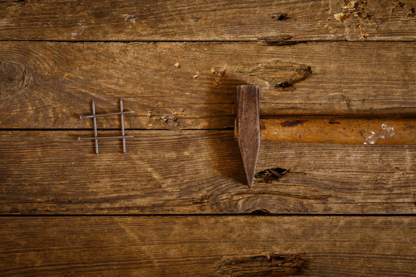 Antique Backgrounds Brown Close-up Directly Above Full Frame Hammer Handle Indoors  Nail No People Old Plank Rustic Simplicity Still Life Studio Shot Table Textured  Wood Wood - Material Wood Grain