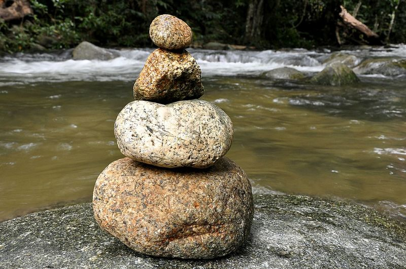 Balance Zen-like Water Rock - Object Summer Stack Outdoors Tranquil Scene Tranquility Vacations Day Pebble Nature Statue No People River Waterflow