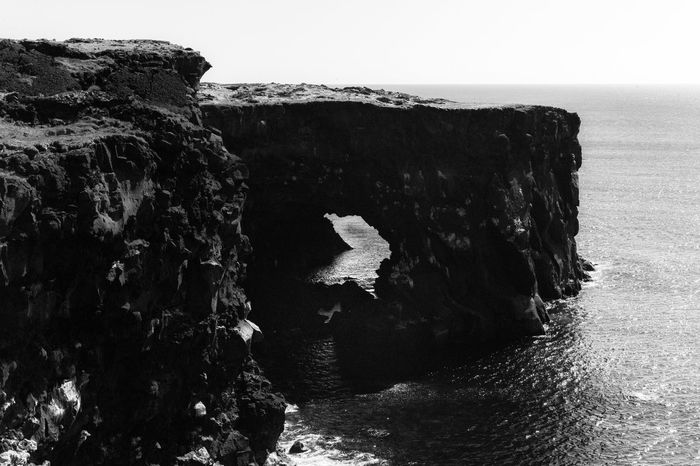 Leica M9 No People Iceland Beauty In Nature Blackandwhite Horizon Over Water No People Rock Rock Formation Sea Sky Tranquil Scene Water The Great Outdoors - 2018 EyeEm Awards EyeEmNewHere Geology Outdoors My Best Travel Photo Holiday Moments
