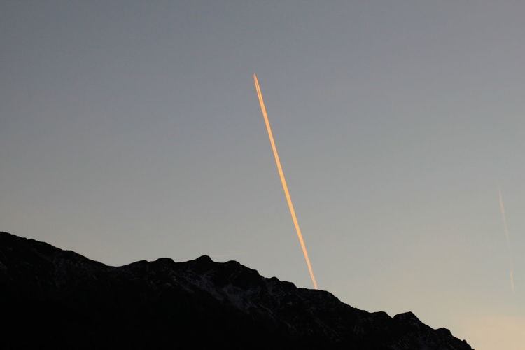 Airplane Clear Sky December 2015 Distant Light Mountains Shape Orange Line Outdoors Rabland,sudtirol Silhouette Sunset Wintertime
