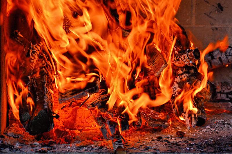 Close-up of bonfire