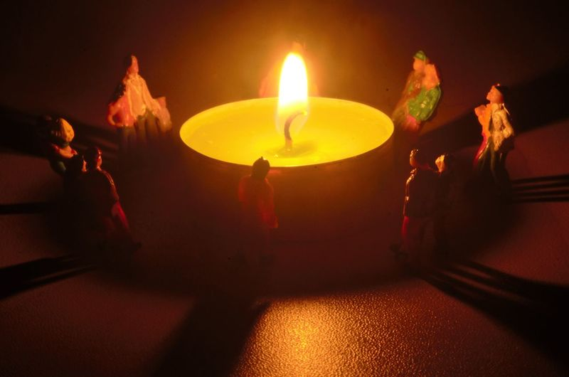 Playmobil People Flame Fire Burning Heat - Temperature Fire - Natural Phenomenon Candle Illuminated Night Nature Indoors  Dark Group Of People Close-up Group Light - Natural Phenomenon High Angle View Glowing Food And Drink People