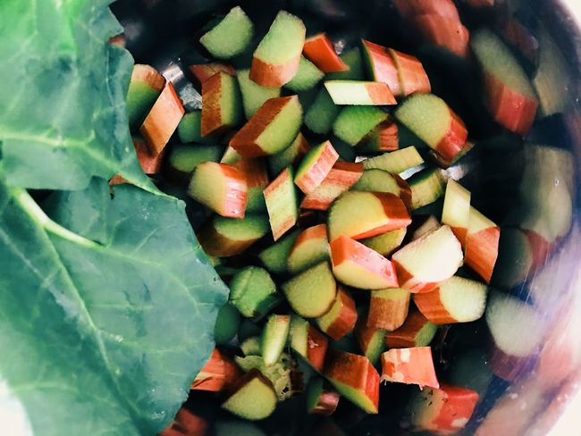Food Indoors  Vegetable No People Freshness Close-up Healthy Eating Chopped Day No Person Recipe Recipes Ingredient Garden Cooking Rhubarb Rhubarb Leaves Rhubarb Stalk Kitchen Ingredients Green Color Food And Drink Freshness Fruit Harvest Time