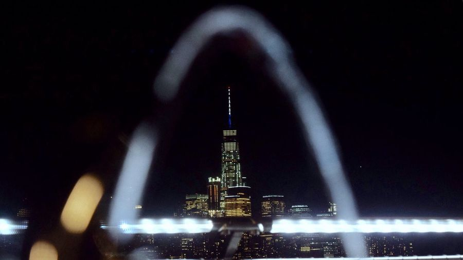 -The Freedom Tower, as seen under a jet of water from a water fountain- NYC NYC Photography NYC Skyline Nyc At Night Skyline Cityscapes Foreground Cities At Night Freedom Tower