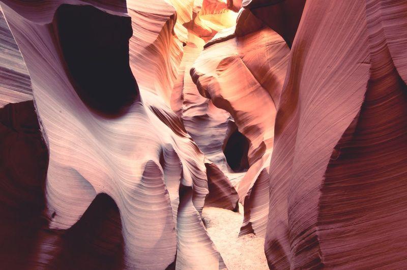 Full frame shot of rock formations at antelope canyon