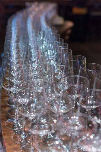 glass of vin Glass - Material Transparent Glass Close-up No People Indoors  Still Life Selective Focus Drinking Glass Household Equipment Table Focus On Foreground Large Group Of Objects Arrangement Vulnerability  Business Fragility Nature Food And Drink Clean