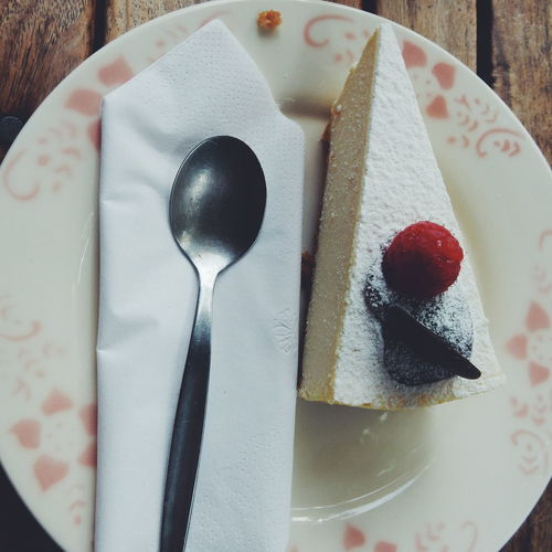 Close-up of cheesecake served in plate