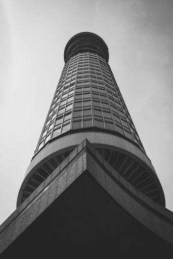 A view up the BT Tower in Fitzrovia, London, United Kingdom. Architectural Feature Architecture Black & White Black And White Black And White Photography Black&white Blackandwhite Blackandwhite Photography Blackandwhitephotography Building Built Structure Capital Cities  City Exterior London Low Angle View Modern No People Outdoors Perspective Skyscraper Tall Tall - High Tower Travel Destinations
