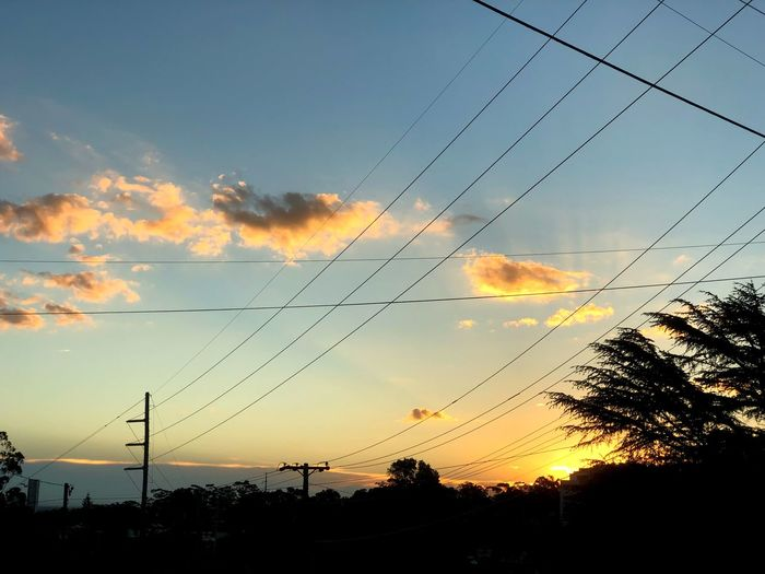 Sunset Sunsey Sunset Sunset Silhouette Cable Sky Tree Power Line  Nature No People Cloud - Sky Day Outdoors Scenics