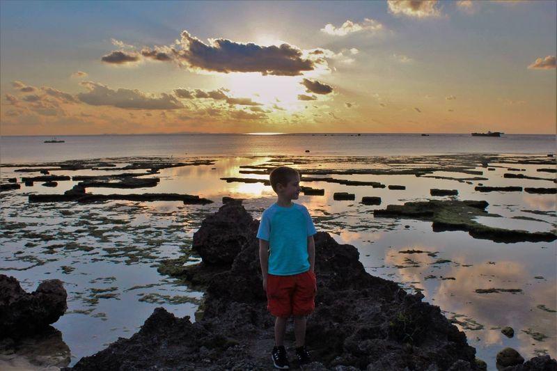 Sunset Beautiful Ocean Cape Zanpa Okinawa