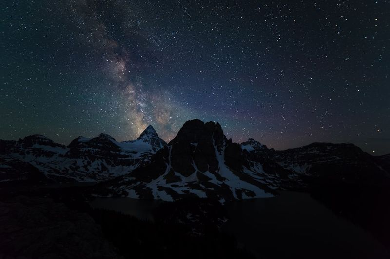 Milky Way above mount Assiniboine Mountain Star - Space Night Snow Astronomy Milky Way Mountain Range Beauty In Nature Outdoors Cold Temperature Nature No People Sky Constellation Space Galaxy Scenics Landscape Illuminated Star Trail