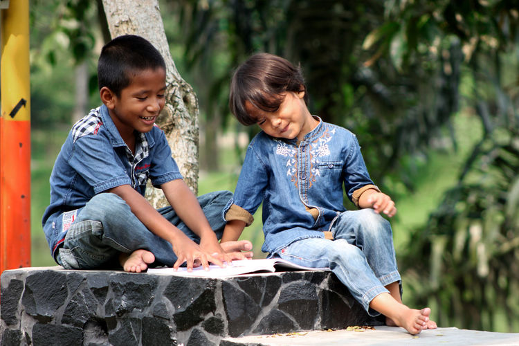 Boys reading book while sitting on seat against tree
