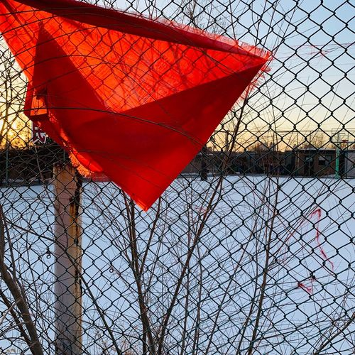 Red Protection Security No People Fence Barrier Chainlink Fence Nature Outdoors Boundary Safety Umbrella Close-up Day Metal Sunlight Flag Sky Pattern
