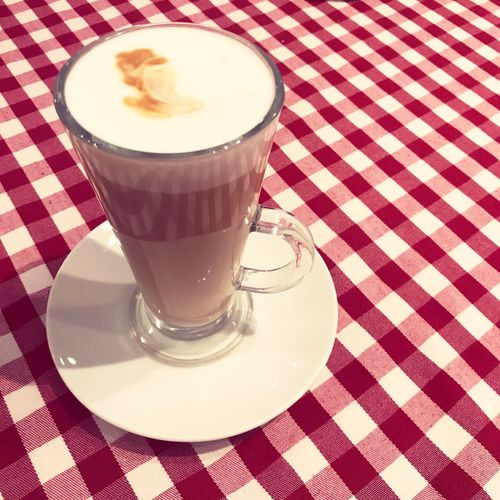 Latte Food And Drink Refreshment Drink Table Food Coffee Glass Checked Pattern Coffee - Drink Tablecloth Coffee Cup Frothy Drink