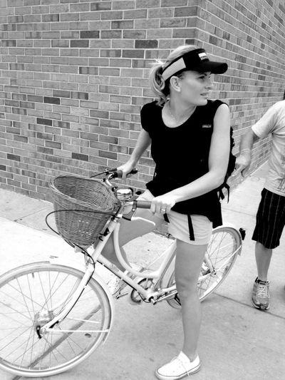 QVHoughPhoto Wisconsin Madison Streetphotography Streetphoto_bw Bicycle Woman IronmanWisconsin Brick Blackandwhite IPhoneography IPhone4s