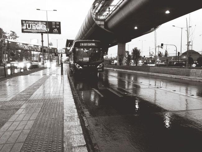 Public Transportation Transantiago Rain 210 Puente Alto Bus Station