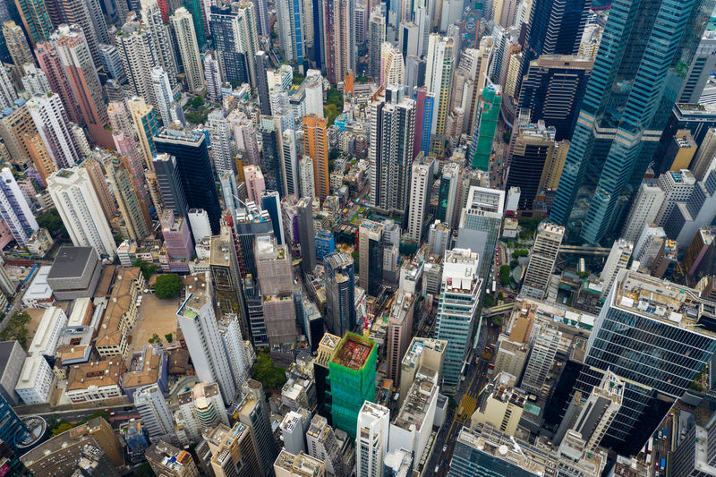 Aerial view of city buildings