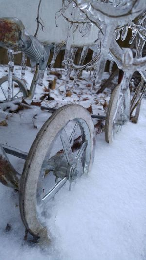 Baby Stroller Cold Frozen Ice Irony Snow Still Birth Stroller Stuck In Snow Tire Transportation Wheel Winter