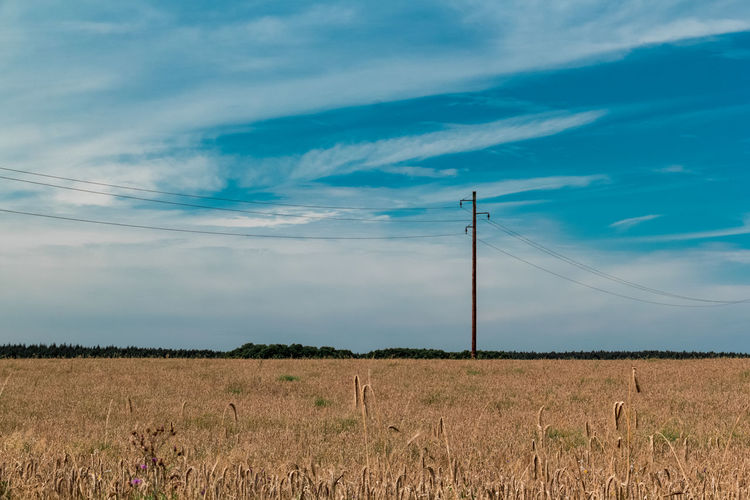Sky Cloud - Sky Landscape Land Field Electricity Pylon Electricity  Technology Cable Nature Connection Power Line  Environment Tranquil Scene Rural Scene Tranquility Fuel And Power Generation Power Supply Beauty In Nature Plant No People Outdoors Telephone Line