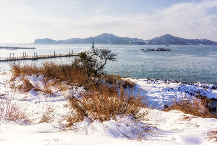 jangja island coastal view with the port. Jangja island is part of seonyudo islands in gunsan, south korea. Taken during winter time. Korea Korean Beauty In Nature Coast Coastal Cold Temperature Day Grass Gunsan Island Jeollabukdo Kunsan Mountain Nature No People Ocean Outdoors Sea Seonyudo Snow Sunyudo Tranquil Scene Tranquility Water Winter Shades Of Winter