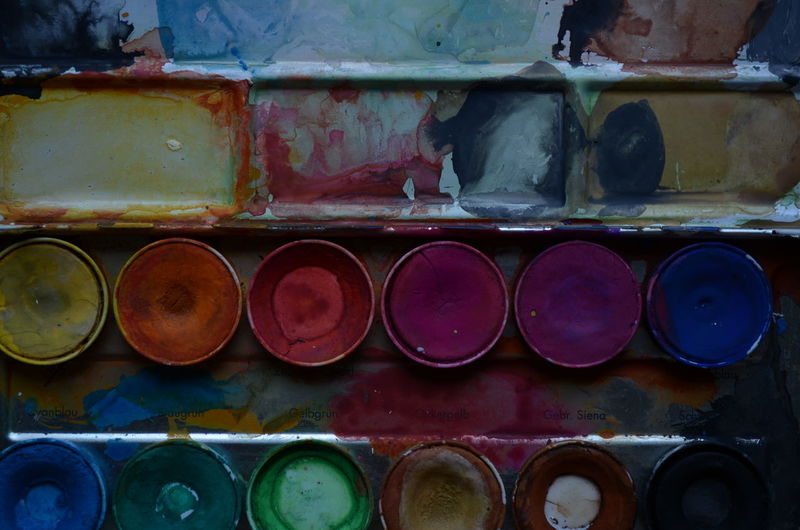 Full frame shot of watercolor paints