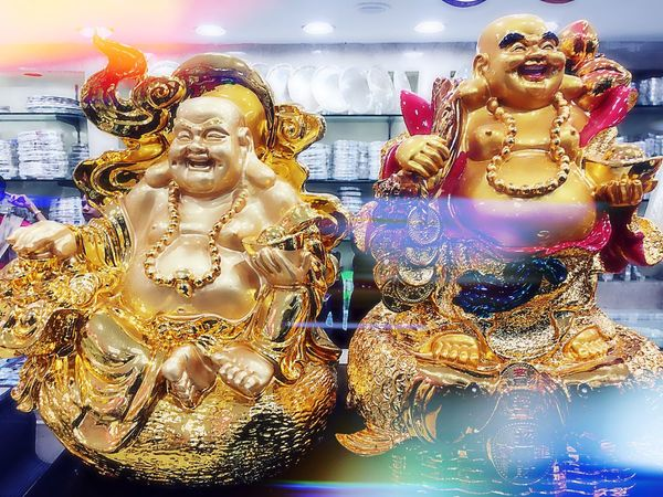 Human Representation Gold Colored Statue Religion Sculpture Indoors  Spirituality Art And Craft Close-up Buddha Culture Splashing Place Of Worship Creativity Golden Cloud - Sky