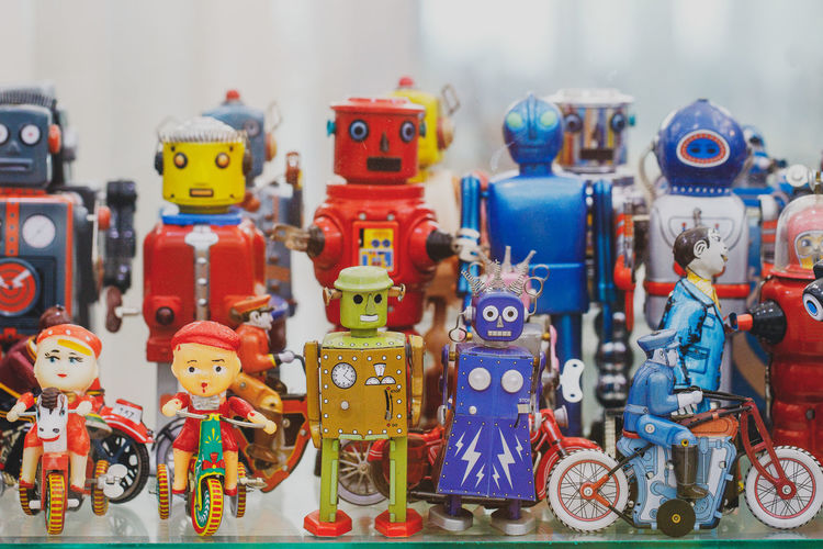 Close-up of toys for sale