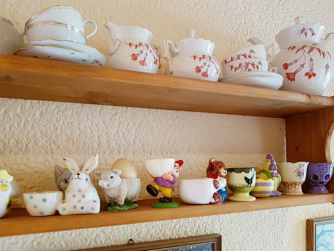Sammlung of Egg cups etc. ... Selection EyeEm Selects Teapot Shelf Multi Colored Variation Clay Business Finance And Industry Pottery Earthenware Easter Bunny Ceramics Shelves Porcelain  Pot