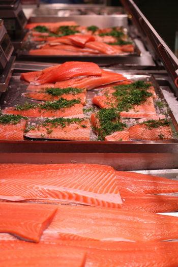 High angle view of fresh salmon at hakaniemi market hall