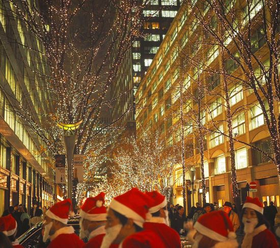 Merry Christmas🎄 Christmas Large Group Of People Low Angle View Myyearmyview Japan Photography Peace And Love Tokyo,Japan Illuminated City Santa Claus