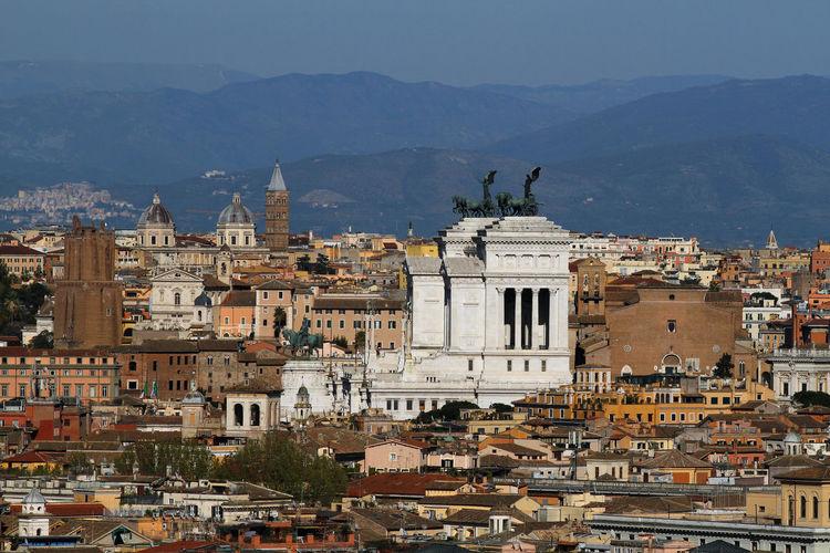 Panorama on the city of rome, altare della patria, roofs, churches and domes.