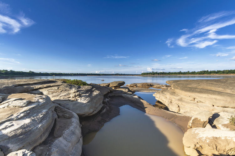 Natural of rock canyon in mekhong river at hat chomdao, ubon ratchathani, thailand.