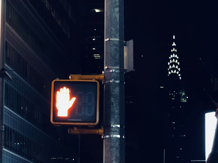 New York City New York Chrysler Building Illuminated Night No People Outdoors Road Sign Close-up Sky