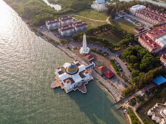 Malacca Straits Mosque High Angle View Built Structure Water Architecture Transportation Building Exterior Nature Day Aerial View Outdoors River No People Waterfront Mode Of Transportation Plant Travel Building Tree Malacca Melaka Straits Mosque ASIA Malaysia Travel Mosque Drone  Droneshot