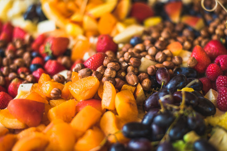 Close-up of fruits arranged in plate