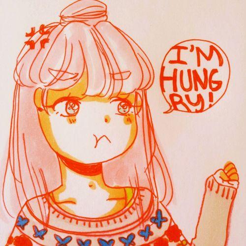 Hungry KAWAII Drawing Art
