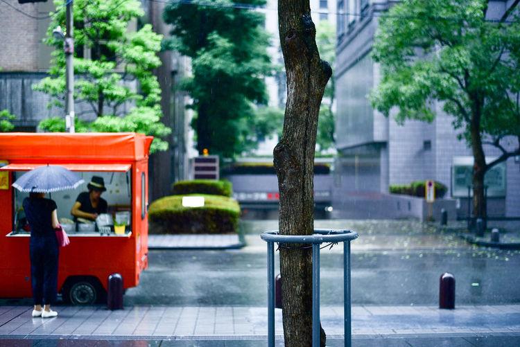 Food truck 移動販売車 Food Truck Food Trucks Japan Lunch OSAKA Rain Tree Umbrella 日本 ランチ ランチ! 移動販売車 雨