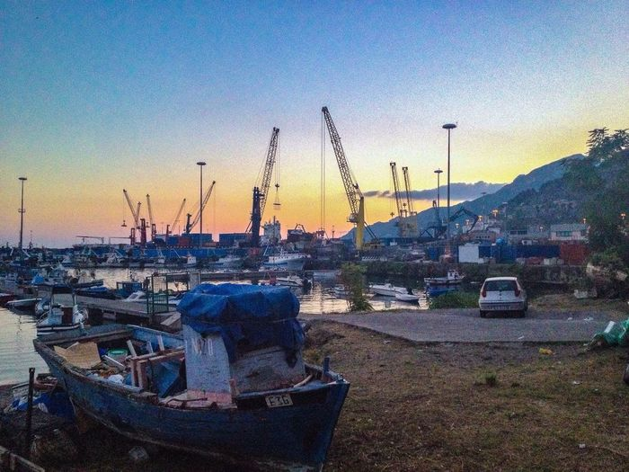 Fisherman Port In Front Of The Sea Sea And Sky Machine Operators Panorama Old And New