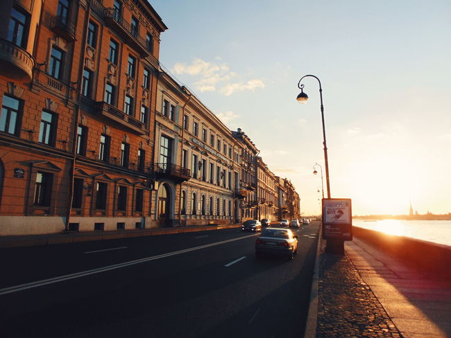City Road Sunset Street Sky Architecture Building Exterior Land Vehicle Car
