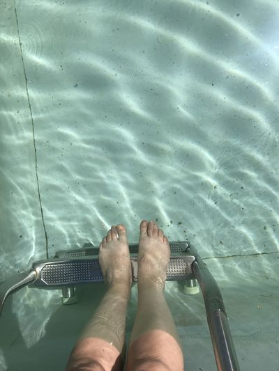 Low section of person legs in swimming pool
