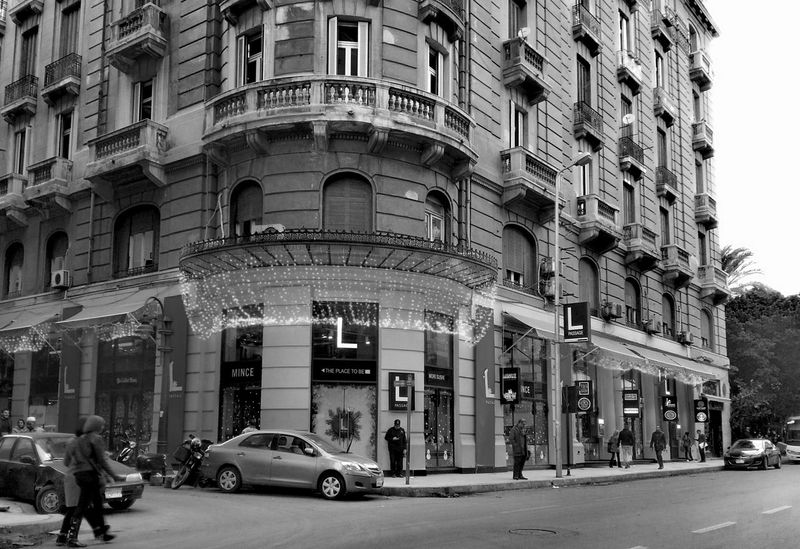 City Street Architecture City Street Building Exterior People Adult Outdoors Day Lights Light Building Fouad Street Egypt