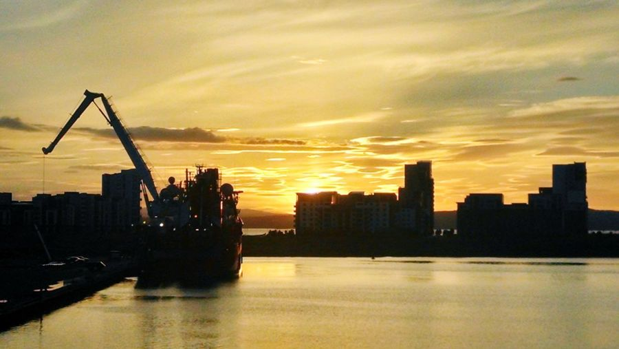 Dramatic sunset over the harbour at Leith. Sunset_collection Sunset Sunset Ship Port Sea Scotland Harbor Commercial Dock Cargo Container Dramatic Sky Industrial Ship Dock Crane - Construction Machinery Moored Shipping  Container Ship Scenics Cloudscape Moody Sky Anchored
